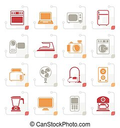 Stylized household appliances and electronics icons