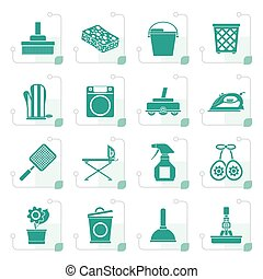 Stylized Household objects and tools icons - vector icon set