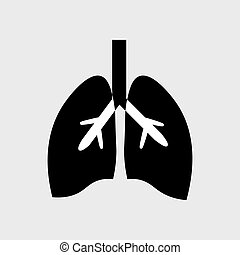 Stylized human lungs anatomy line icon. Medical illustration