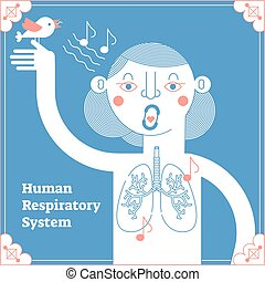 Stylized Human Respiratory System, framed anatomical vector...
