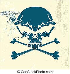 Stylized human skull and bones symbol. Grunge background. ...
