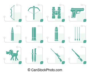 Stylized Hunting and arms Icons - Vector Icon Set