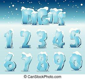 Stylized ice digits
