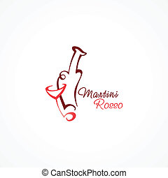 stylized icon martini rosso
