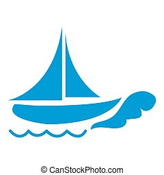 Stylized icon of a colored ship on a white background