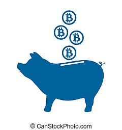 Stylized icon of a piggy bank with bitcoins.