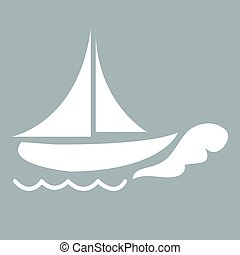 Stylized icon of ship in white on a colored background