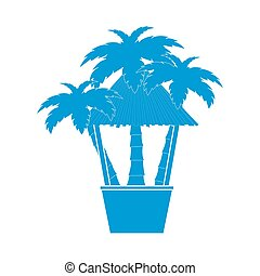 Stylized icon of the bar on the beach with palm trees