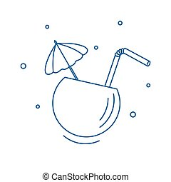 Stylized icon of the cocktail in half coconut, tube and umbrella.