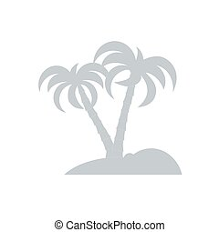 Stylized icon of the island with palm trees