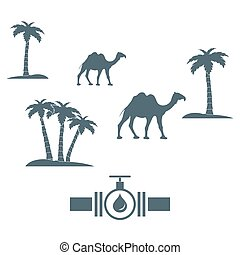 Stylized icon of the pipe with a valve and fuel drops with palm trees and camels