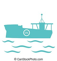 Stylized icon of the tanker of oil floating on waves