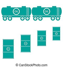 Stylized icon of the tanks and barrels with oil