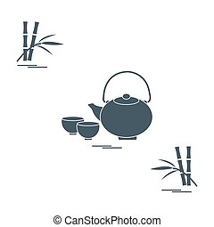 Stylized icon of the teapot with two cups and bamboo. Tea...