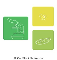Stylized icons of microscope, amoeba, ciliate-slipper....