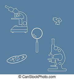 Stylized icons of microscopes, magnifier, amoeba,...