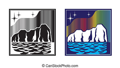 stylized illustration. iceberg, the night sky, the stars and the northern lights. can be used as a sign or emblem or other tasks