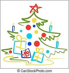 Stylized illustration of a Christmas tree