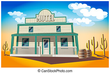 motel - Stylized illustration of a motel in the middle of ...
