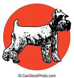 Schnauzer - Stylized illustration of a standing Schnauzer...