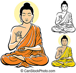 Stylized illustration of Buddha, isolated on white background. No transparency and gradients used.