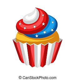 Stylized illustration of cupcake. American Flag colors.