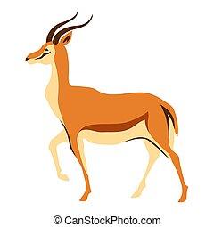 Stylized illustration of gazelle. Wild African savanna...