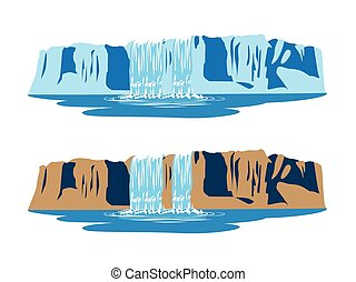 mountain waterfalls - stylized illustration of mountain ...