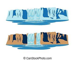 stylized illustration of mountain waterfalls