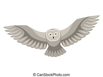 Stylized illustration of owl. Woodland forest animal on white background