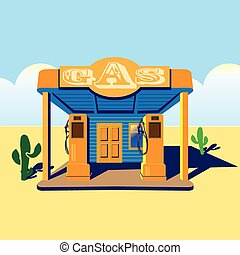 gas station - stylized illustration on the theme of road...