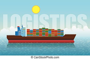 logistics - stylized illustration on the theme of transport...