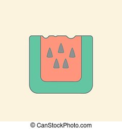 Stylized illustration watermelon flat icon isolated on color background