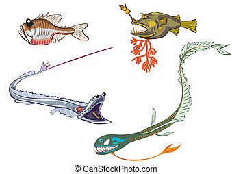 deep-sea fishes - stylized illustrations of the deep-sea...