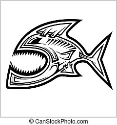 Stylized image of a fish - Native American mascot. Vector illustration