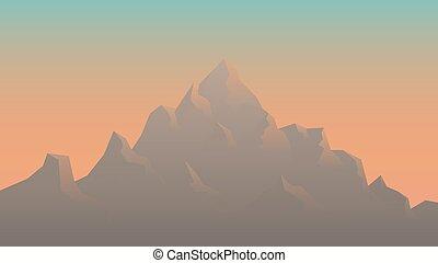 Stylized Image of Mountains at Sunrise - Vector Illustration
