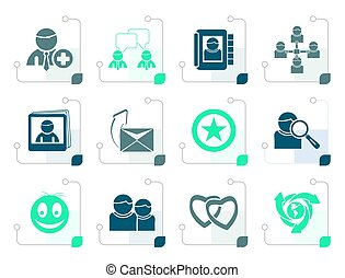 Stylized Internet Community and Social Network Icons