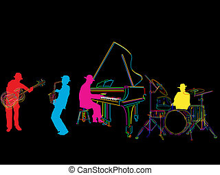Jazz band sketch, isolated and grouped over black