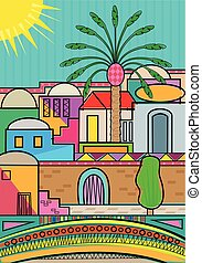 Artistic and colorful Jerusalem greeting card. Eps10