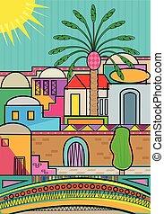 Stylized Jerusalem - Artistic and colorful Jerusalem...