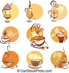 stylized, jogo café, restaurante, copos, menu., ícones, esboço, símbolos, café, ou