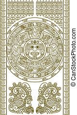stylized, kalender, aztek