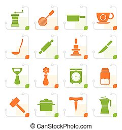 Stylized Kitchen and household tools icons