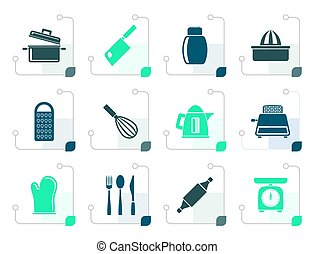 Stylized Kitchen and household Utensil Icons