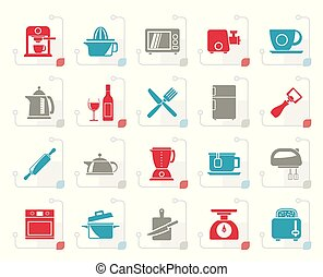 Stylized Kitchenware objects and equipment icons