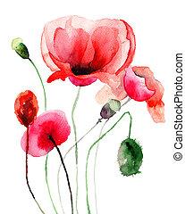 stylized, klaproos, bloemen, illustratie