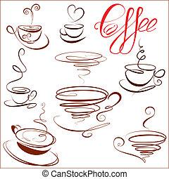 stylized, koffie stel, restaurant, koppen, menu., iconen, schets, symbolen, koffiehuis, of