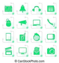 stylized, kommunikation, och, media, ikonen