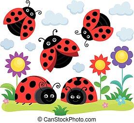 stylized, ladybugs, tema