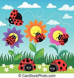 Stylized ladybugs theme image 6